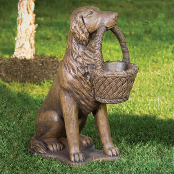 Retriever with basket Left statue