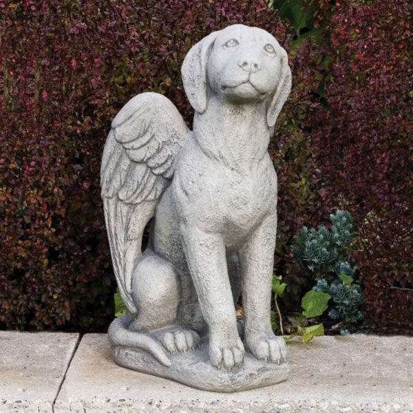 Delicieux Dog Angel Fine Stone Statue