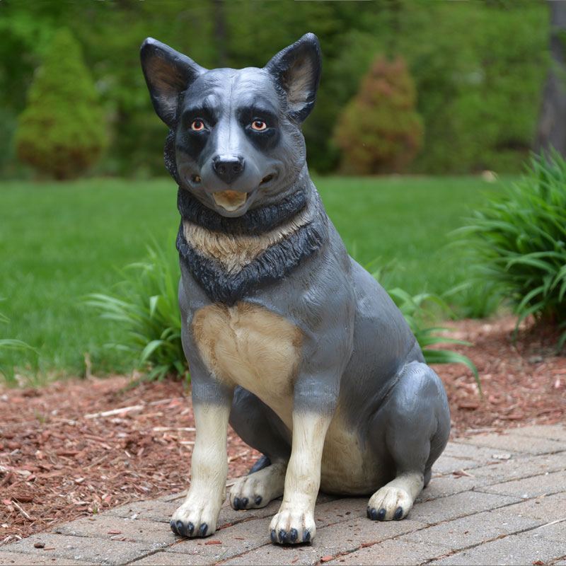 "Sitting Blue Heeler Statue - 25"" Life-Size Dog Statue"