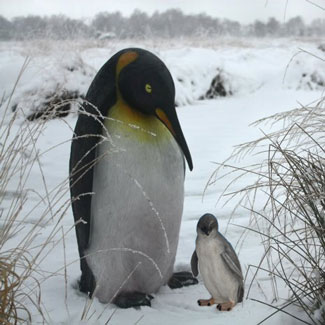 "Penguin Sitting with Baby Penguin 36""H"
