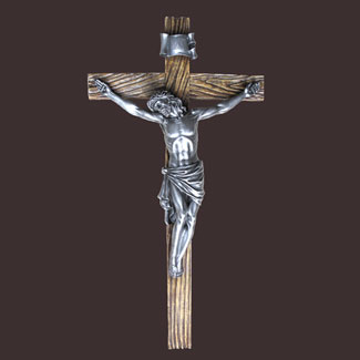 "Antiqued Silver Crucifix 20"" Renaissance Collection"