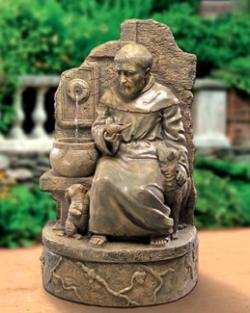 "St. Francis at Well  Fountain 38""H Antiqued Cast Stone"