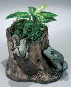 "Frog Stump Planter 11"" Hi-Tone Cast Stone 40% OFF"