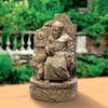 "View: St. Francis at Well  Fountain 38""H Antiqued Cast Stone"