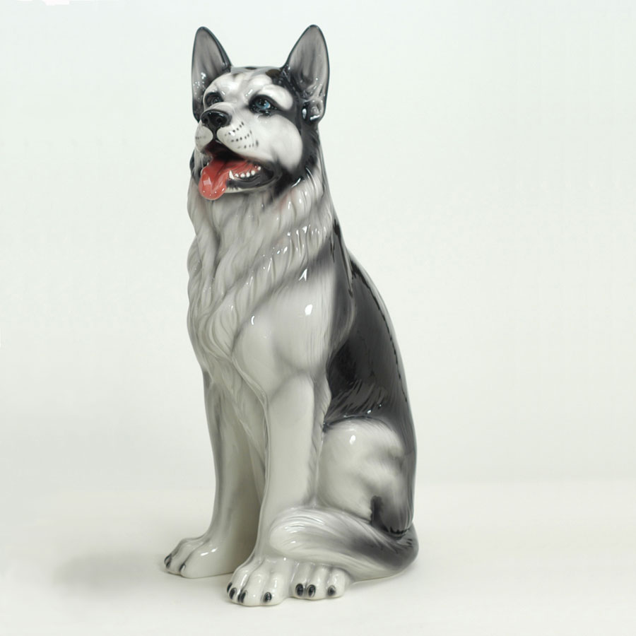 Ceramic Huskey Statue