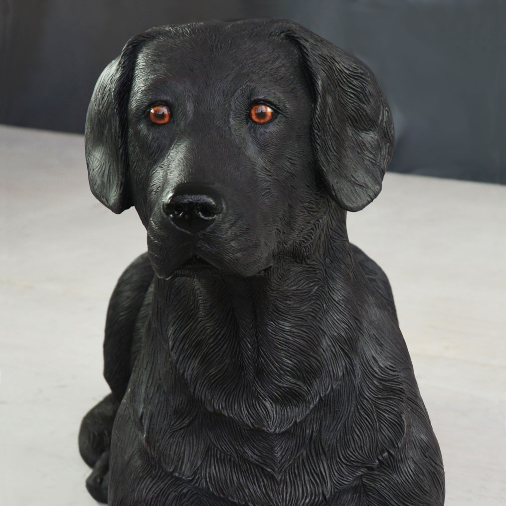 Black Labrador dog statue